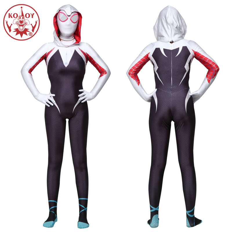 3D Print Spiderman Gwen Stacy Spandex Lycra Zentai Spider-Man Costume For Women Female Spider Suit Bodysuit