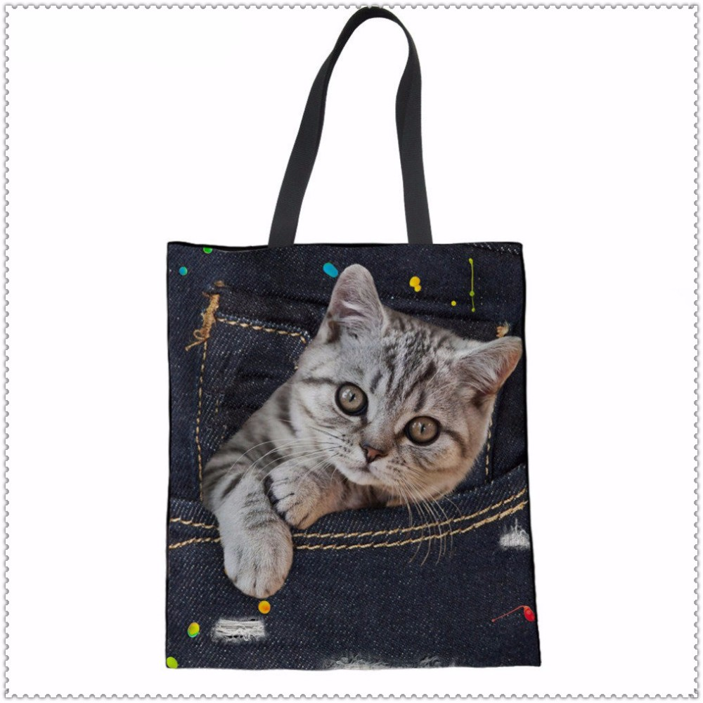 INSTANTARTS-Denim-3D-Cute-Animal-Cat-Printed-Luxury-Women-Large-Shopping-Bag-Tote-Sholder-Bag-for