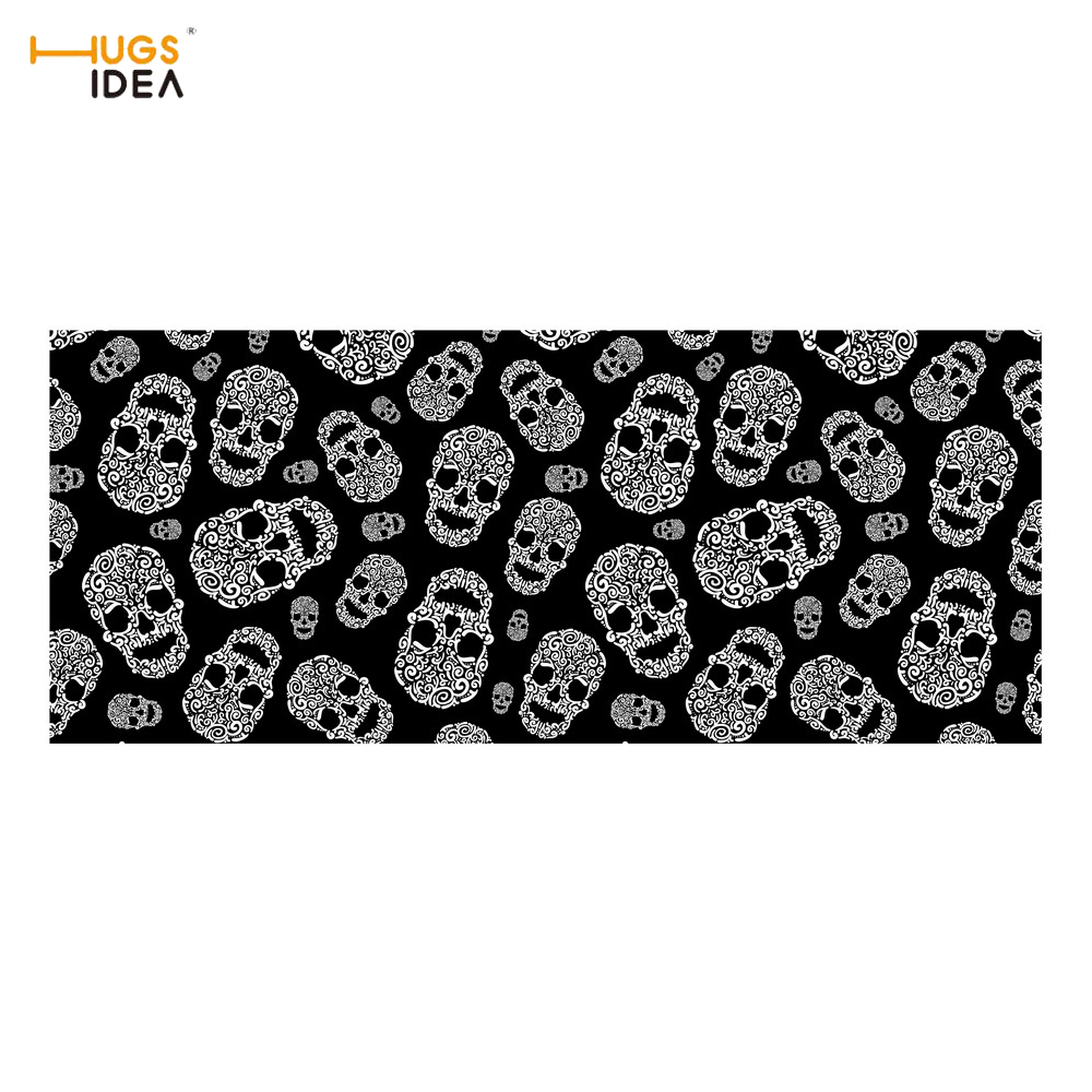 HUGSIDEA Zombine Punk Skull Print Stair Tread Mat Home Decorative Balcony Indoor Stairs Carpet Non Slip Rubber Stairway Step Rug
