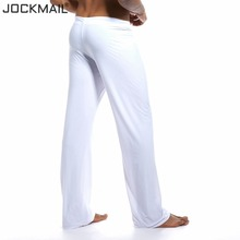JOCKMAIL Mens Pants Mens Sleep Bottoms Viscose Home Pants Loose Sexy Mens Lounge Pants Milk Silk Fashion Strap Sexy Male Pajamas