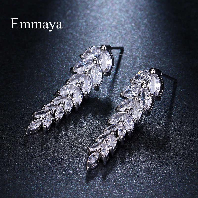 Emmaya แบรนด์แฟชั่นเสน่ห์ AAA ประดับเพชรหลากสี Salix ใบไม้จี้ต่างหูสำหรับผู้หญิงงานแต่งงานของขวัญเครื่องประดับ