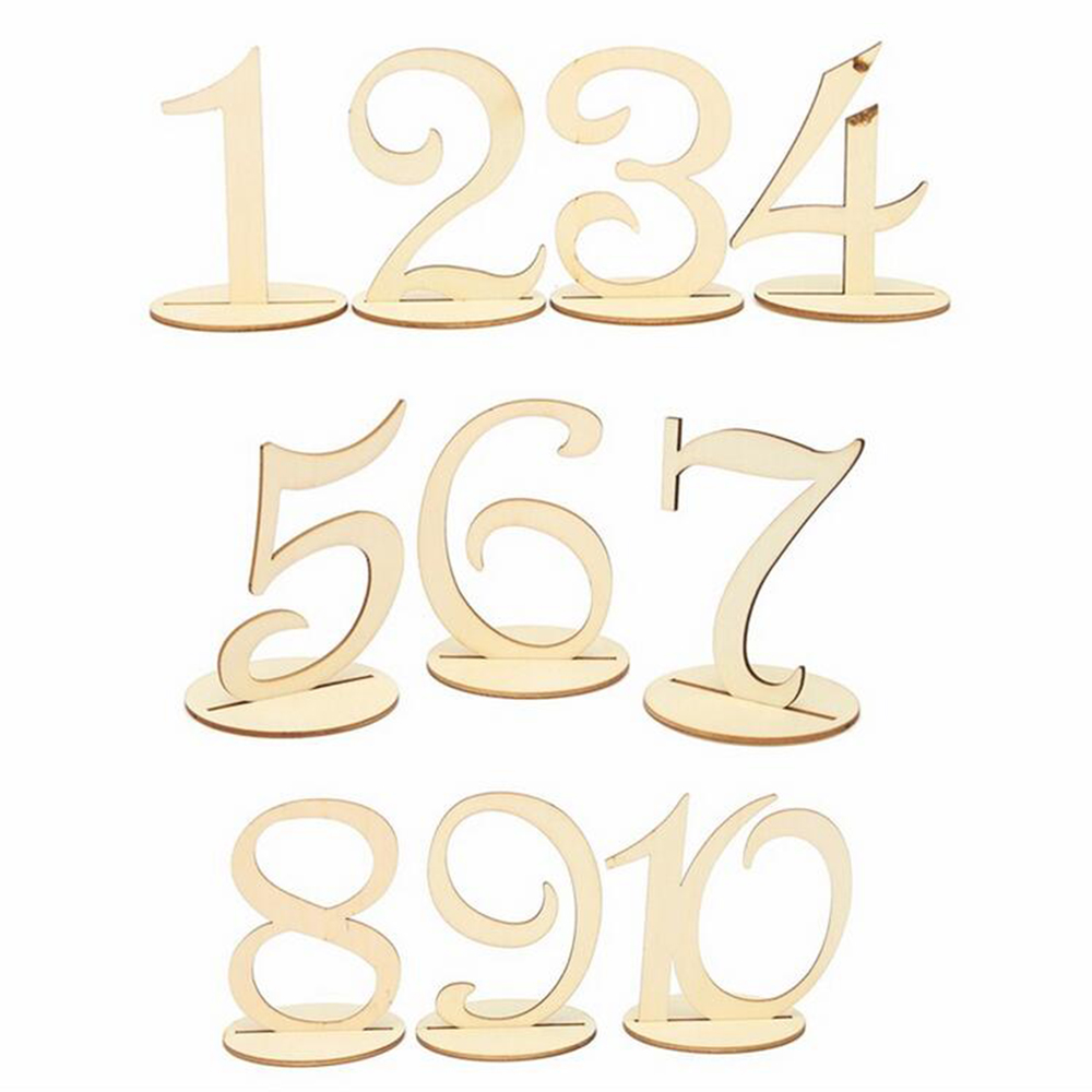 1 Set 1-10/11-20 Wooden Table Numbers Party Direction Signs Set with Base for DIY Wedding Birthday Party Decor Supplies P15