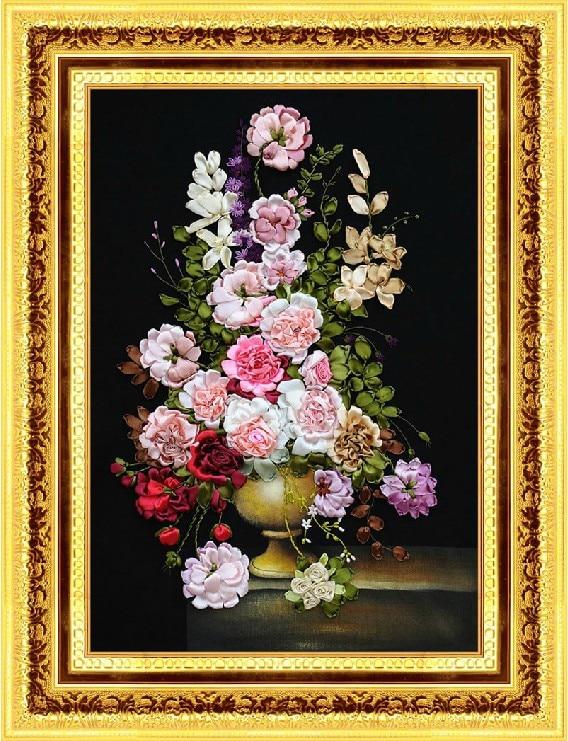 """Siuvinėjimas, pasidaryk pats """"Big Ribbon Cross Stitch"""" rinkinys siuvinėjimo rinkiniui, gražus pavasario žiedas, rožių gėlės"""