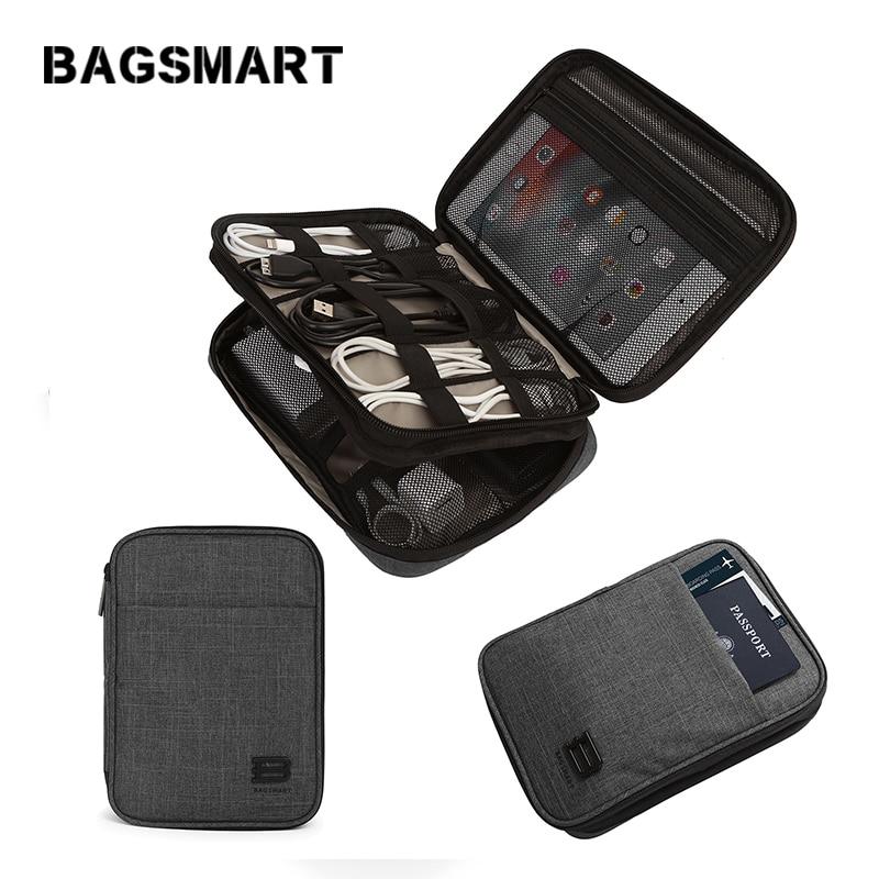 BAGSMART Подорожі Електронні аксесуари Сумка Нейлонові чоловічі організатори подорожей для кабелю даних USB Kindle iPad Міні паспорт