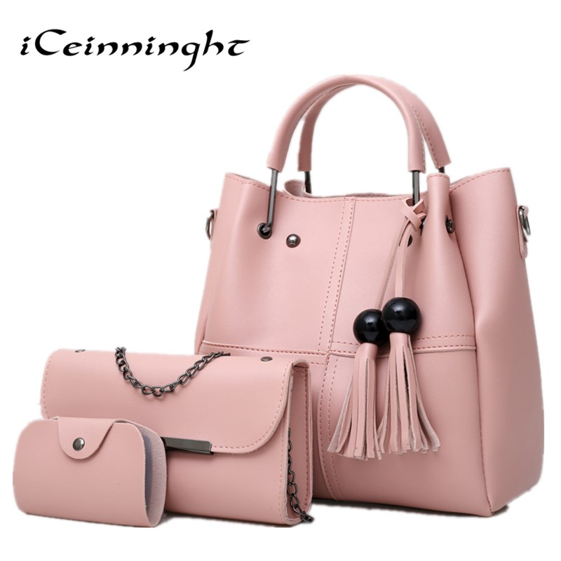 Luxury High Quality PU Leather Women Bags 3pcs Set Women Handbags Purse Cultch Composite Messenger bag Leisure Tote Sac high quality tote bag composite bag 2