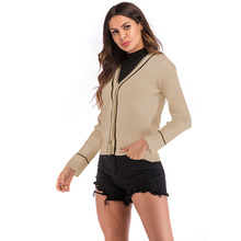 Осеннее новое пальто женский модный кардиган с v-образным вырезом, сочетающийся с цветом, женский короткий свитер с длинным рукавом на одной пуговице