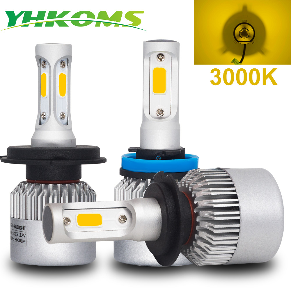 YHKOMS H4 H7 H11 LED 3000K H1 H3 H8 H9 9005 9006 880 881 5202 Fog Light 9004 9007 H13 Hi/Lo Beam Car Headlight Yellow Light 12V pair 9600lm w cree cob chips h1 h3 h4 h7 h8 h9 h11 880 881 9005 9006 9012 car led headlight kit bulbs 6000k white