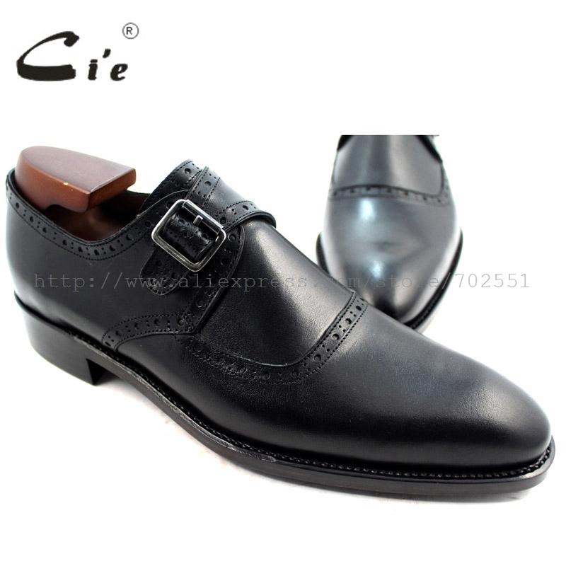 cie Free Shipping Bespoke Handmade Genuine Calf Leather Men's Single Monk Straps Plain Toe No.MS34 Black Plain Goodyear Welted black plain cold shoulder