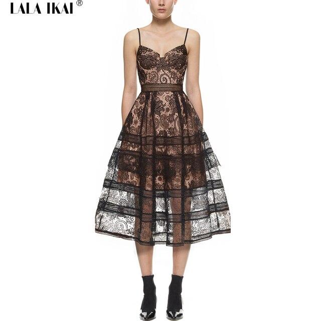 ЛАЛА IKAI Пейсли Midi Платье Женщины Сексуальный Черный Скольжения Платья Прозрачный Автопортрет Пляжные Платья Женщин Торт Платья QWA0959-5