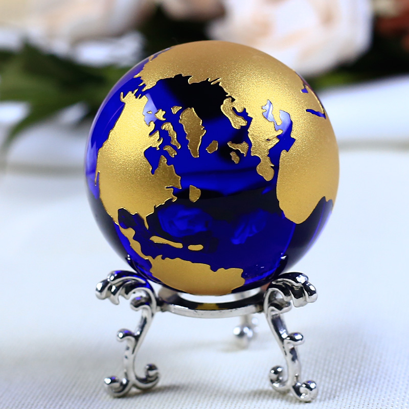 6cm Blå Guld Crystal Earth Model Feng Shui Glas Globe Krystal Ball Sphere Ornamenter Figur Home Decoration Tilbehør Gaver