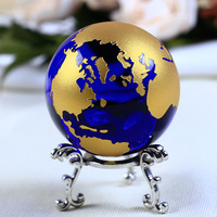 6cm Blue Gold Crystal Earth Model Feng Shui Glass Globe Crystal Ball Sphere Ornaments Figurine Home Decoration Accessories Gifts