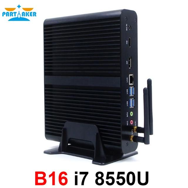 8-го поколения мини ПК Windows10 Intel Core i7 8550U четырехъядерный 4,0 ГГц Мини компьютер без вентиляторов 4 K HTPC Intel UHD graphics 620 Wifi 5