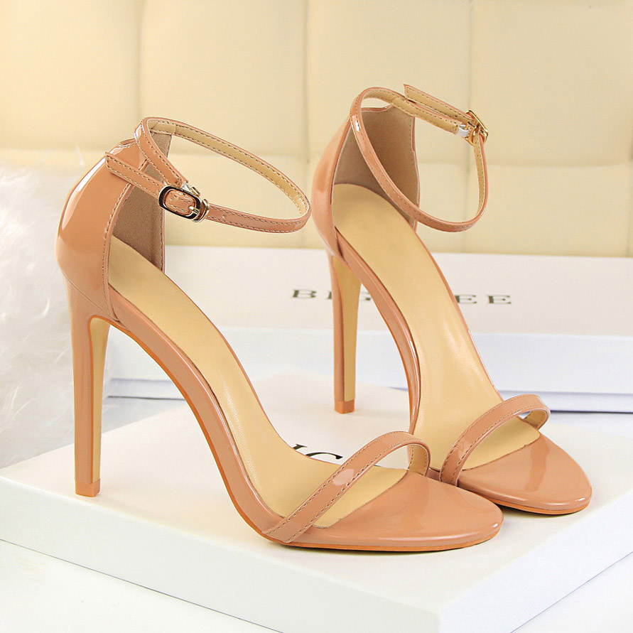HTB1uz6awXmWBuNjSspdq6zugXXag 2019 Women Size 40 Flock Extreme 11cm High Heels Fetish Sandals Female Gladiator Cheap Strap Shoes Lady Nude Valentine Red Pumps