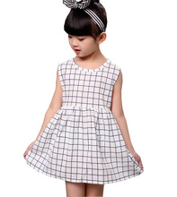 Children s summer temperament lattice 100% pure cotton girls dress Korean version of sleeveless