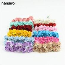 144 pçs barato mini papel rosa artesanal bouquet de flores artificiais para decoração de casamento diy grinalda scrapbooking artesanato falso flor