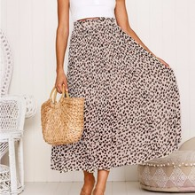 DeRuiLaDy 2019 Women Fashion Leopard Print Pleated Chiffon Skirt  Ladies High Waist Casual Mid Calf Skirts недорого