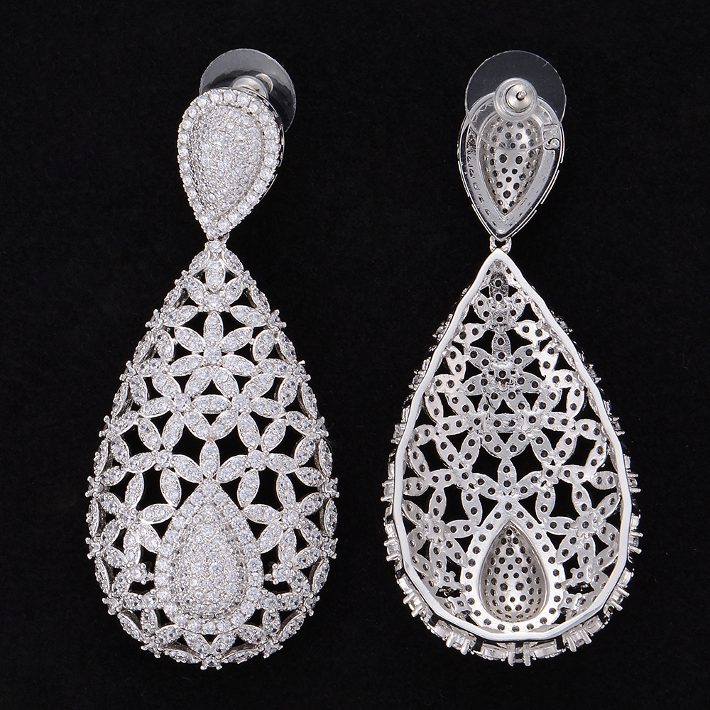 missvikki Luxury Big Teardrop Pendant Wedding Earrings Full Cubic Zirconia Pierced Dangle Earrings For Women Valentine Party