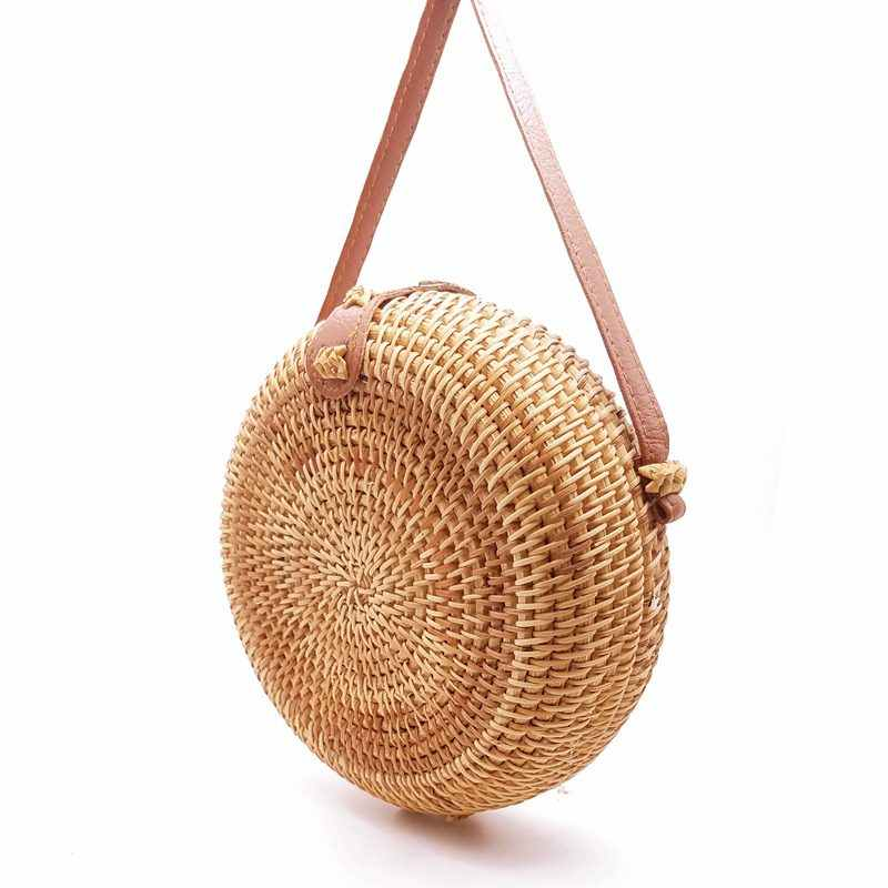 Handarbeit Gewebt Strand Kreuz Körper Schulter Tasche Kreis Böhmen Handtasche Bali Box 2020 Runde Stroh Taschen Frauen Sommer Rattan Tasche KL451