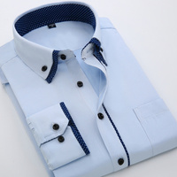 2016 New Fashion Mens Double Collar Shirt Business Casual Long Sleeve Shirt Solid Color Slim Fit
