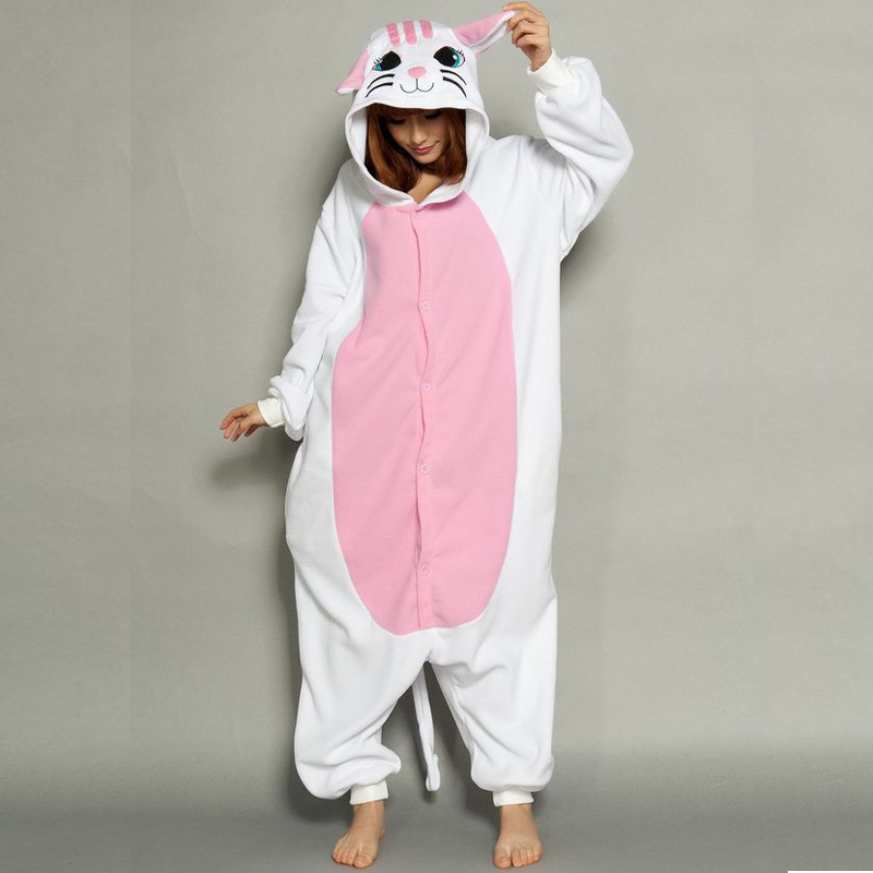 Cute White Cat Onesie Kigurumi Soft Animal Costume Women Jumpsuit For Adult Pyjamas Sleepwear Halloween Kitty Pajamas Cosplay