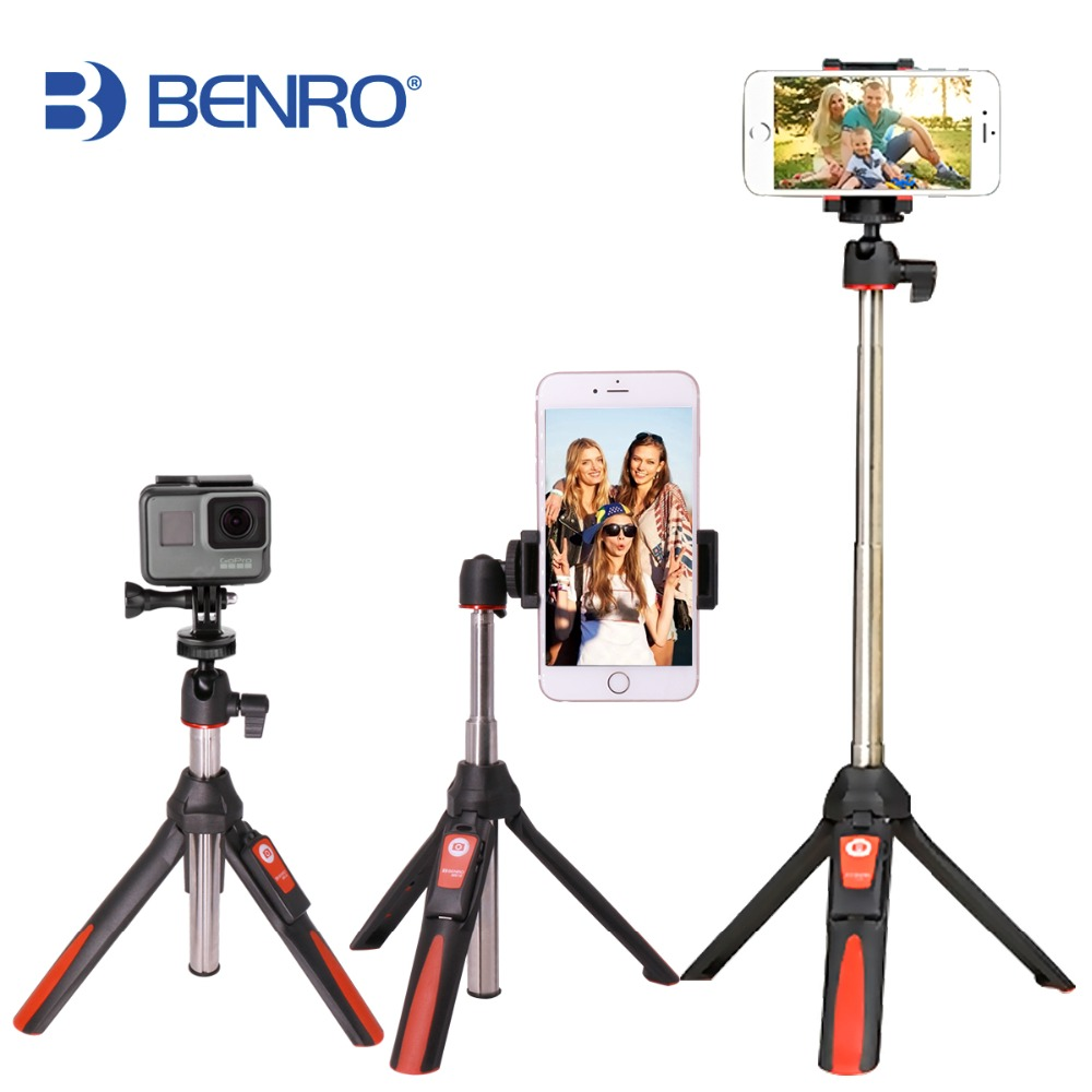 Benro 33 אינץ 'חצובה כף יד סטיק 3 ב 1 Bluetooth להרחבה Monopod Selfie סטיק סטיק עבור iPhone 8 Samsung Gopro 4 5