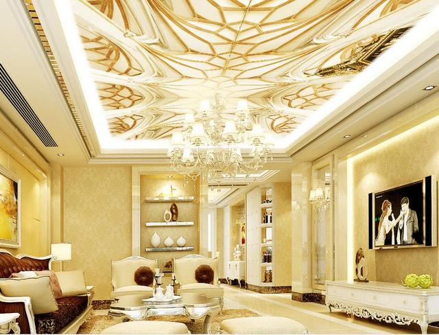Custom 3d Ceiling Murals Wallpaper For Walls For Ciling Bedroom Watermark Wave Non Woven 3d