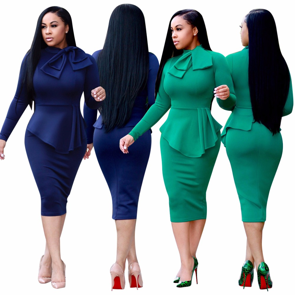 2018 Hot selling Europe and the United States autumn new fashion dress Design Long Sleeve professional dress skirt Suit For Lady