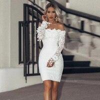 New Fashion White Elegant Bandage Lace Short Party Wedding Women Dress Bridesmaid Graceful Girls Off Shoulder Dresses Wholesale