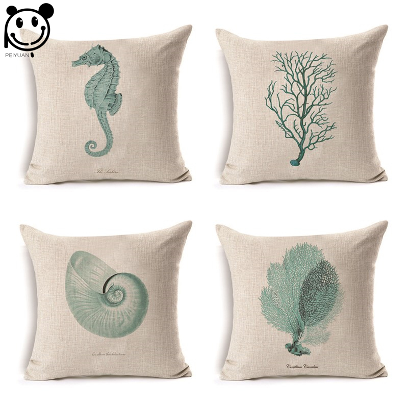 peiyuan beautiful ocean sea green hippocampus conch coral seaweed pillow case linen print square high quality