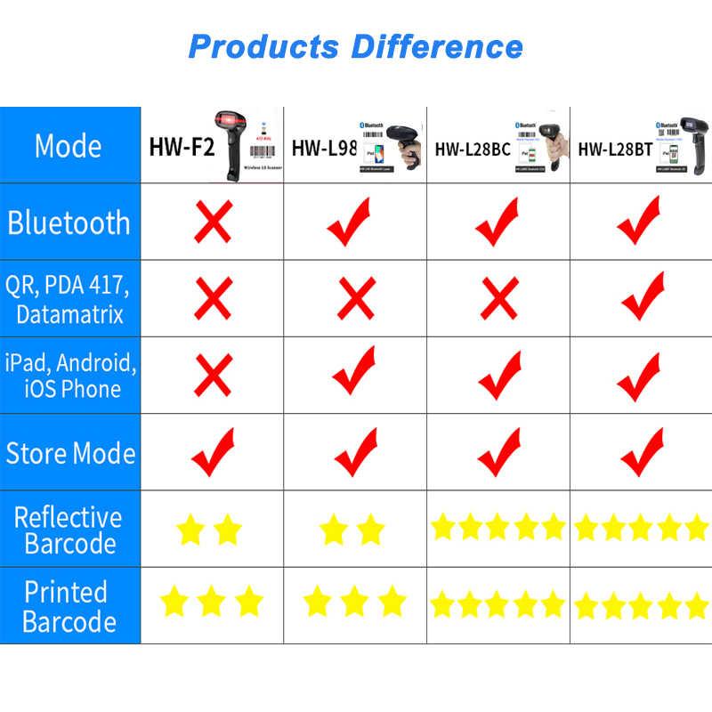 Portable Barcode Scanner Nirkabel Bluetooth 2D QR Bar Code Reader untuk Android IOS iPad Ponsel Pembayaran HW-L28BT