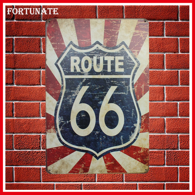 Exceptional Hot Blue Red Route 66 Logo Vintage Metal Signs Home Decor Vintage Tin Signs  Pub Vintage