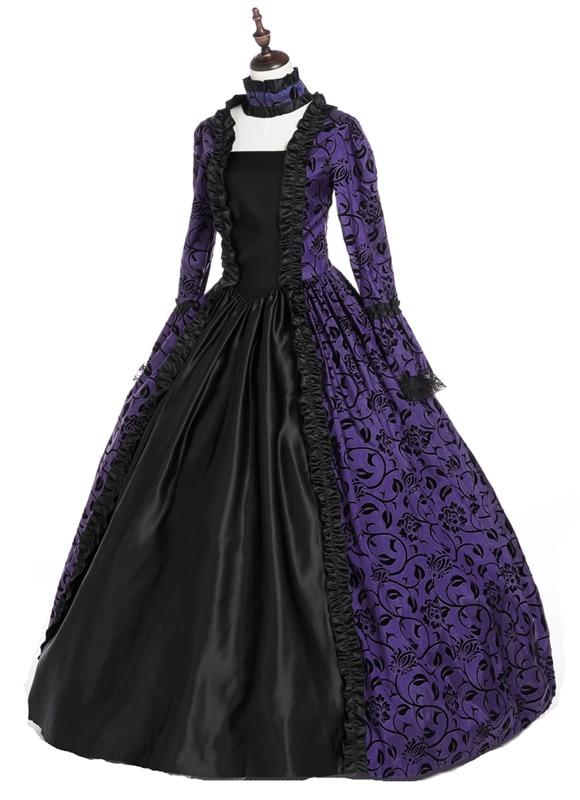 Purple and Black  Victorian Dress