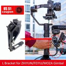 L-konsol med 3 heta skoproppar Handtag för LED / mikrofon / monitor För zhiyun Crane M Crane 2 Plus / DJI / MOZA Aircross / FEIYU Gimbal