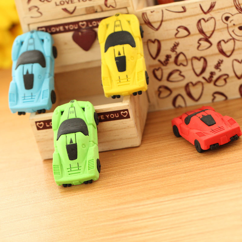 1pcs South Korean Creative Students Stationery Products Cartoon Sports Car Rubber Eraser Wholesale Price Exquisite Small Gift