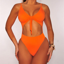 European and American Conjoined Bikini Pure Color Swimsuit Ladies High-Grade Polyester Swimwear