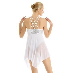 Image 5 - Robe de Ballet pour femmes adultes, réservoir avec paillettes, maille asymétrique, croisé dans le dos, léopards pour femmes, robe de danse pour le Ballet