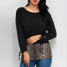 KANCOOLD 2019 Rural Style Women Summer Dress Plus Size Sexy Womens Leopard Splice Long Sleeve Casual Tunic Top FFE12(China)