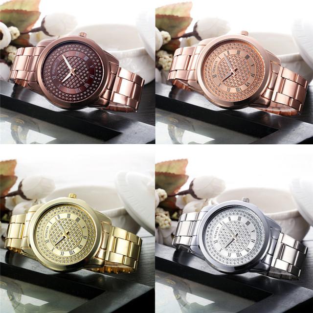 2018 New Fashion Women Bracelet Watch Women's Stainless Steel Quartz Watch Rhineston Crystal Analog Wrist Watch Relogio Feminino