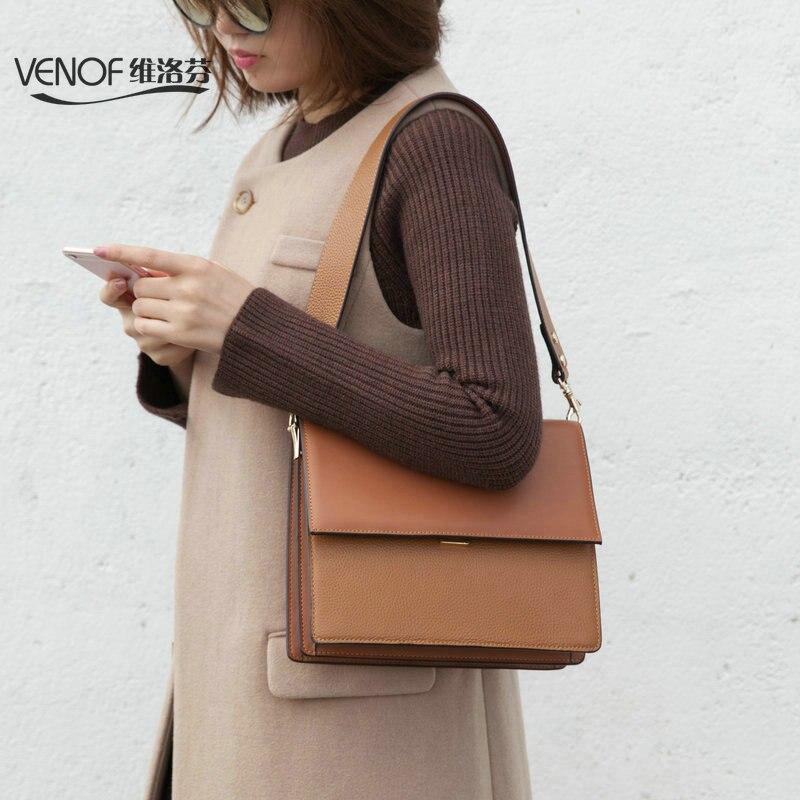 VENOF luxury genuine leather women shoulder bag wide straps fashion women mochila terse ladies Messenger bag exquisite women bag