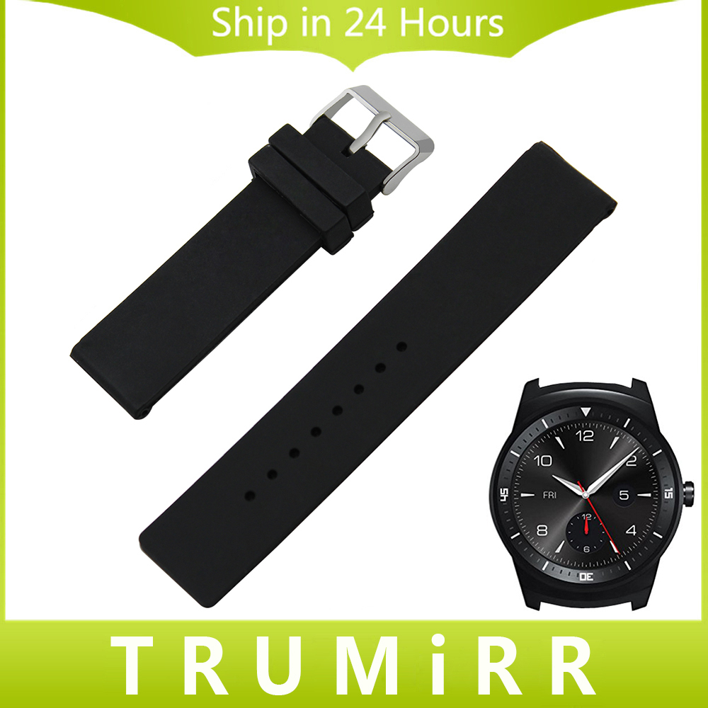 22mm Silicone Rubber Watch Band for LG G Watch W100 W110 Urbane W150 Stainless Steel Clasp Strap Wrist Belt Bracelet Black White t rrce expert black silicone rubber strap t048 watch band for t048417a 21mm