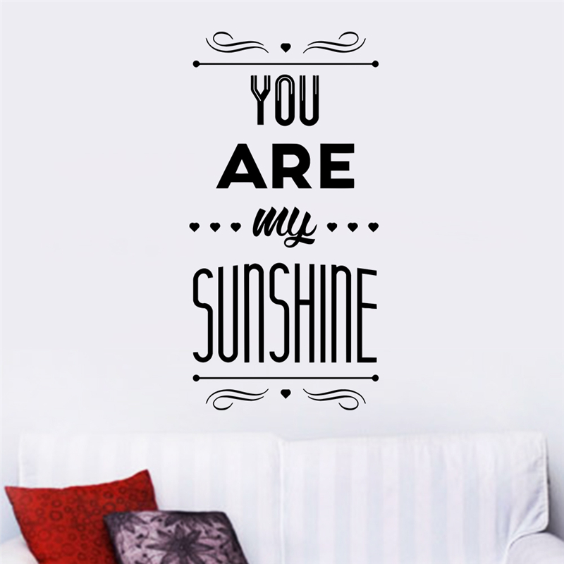You Are My Sunshine Letters Home Decoration Wall Decals For Kids Room Bedoom Diy Art Removable Stickers Vinyl Valentine Gift In From