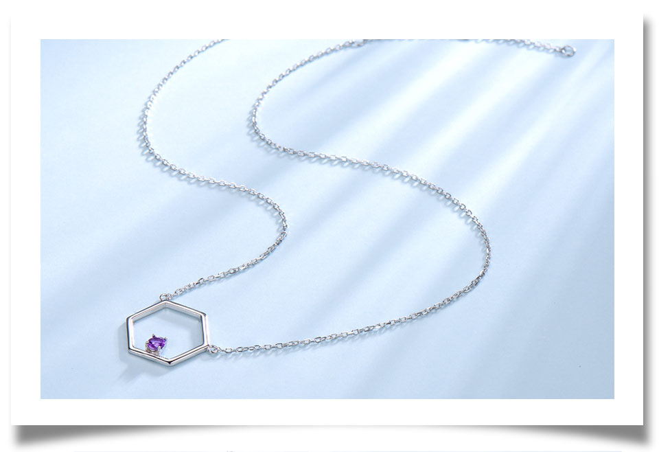 925 Sterling Silver Natural Amethyst Necklaces (4)