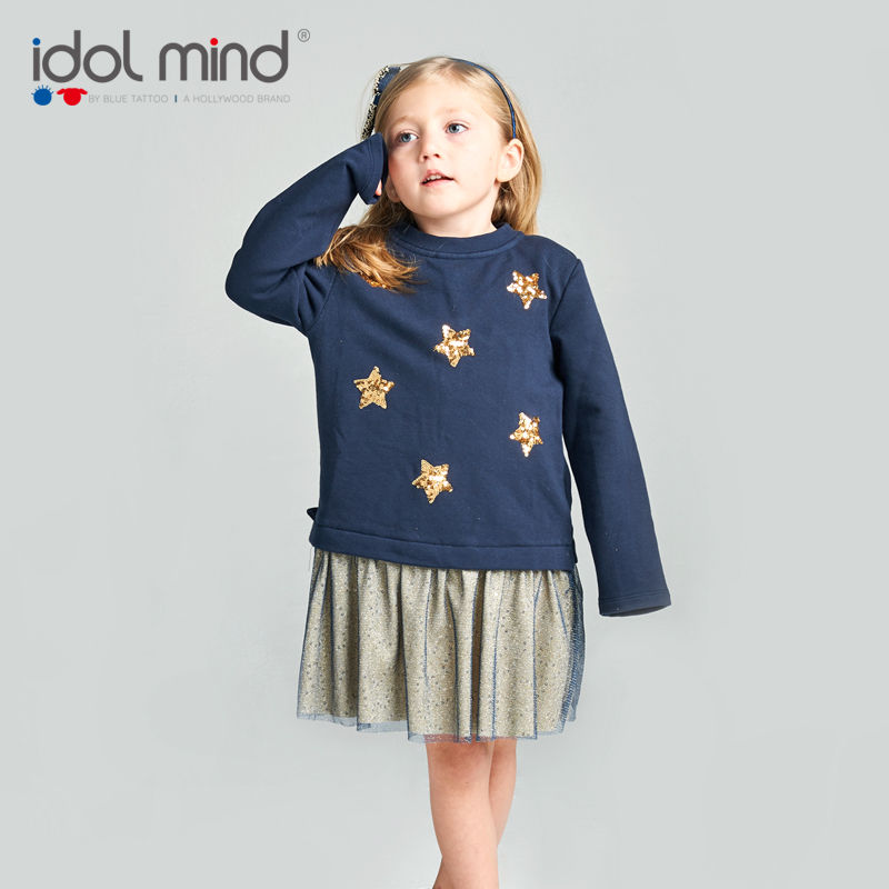 Children's wear girl's long - sleeved vest stitching dress autumn/winter girl princess dress spring and autumn winter new. 2016 autumn winter clothing corduroy girls dress girl spring and autumn winter vest dress party princess dress