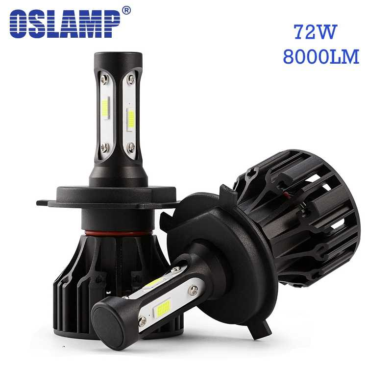 Oslamp 72W 8000lm LED Car Headlight Bulbs H4 H7  H11 H1 H3 9005 9006 COB Chips 6500K Auto Headlamp Led Light LED Bulb 12v 24v