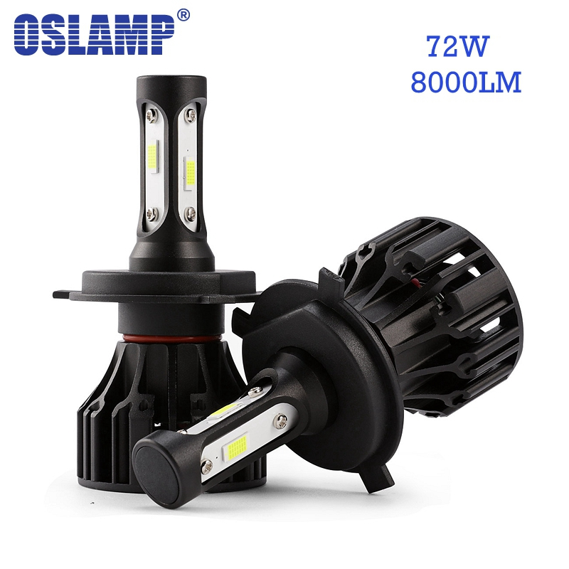 Oslamp 72W 8000lm LED Car Headlight Bulbs H4 H7 H11 H1 H3 9005 9006 COB Chips 6500K Auto Headlamp Led Light LED Bulb 12v 24v oslamp h4 h7 led headlight bulb h11 h1 h3 9005 9006 hi lo beam cob smd chip car auto headlamp fog lights 12v 24v 8000lm 6500k