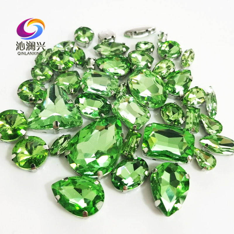 Sell at a loss mix size Light green silver base top level glass crystal sew on rhinestones diy wedding decoration 68pcs bag in Rhinestones from Home Garden