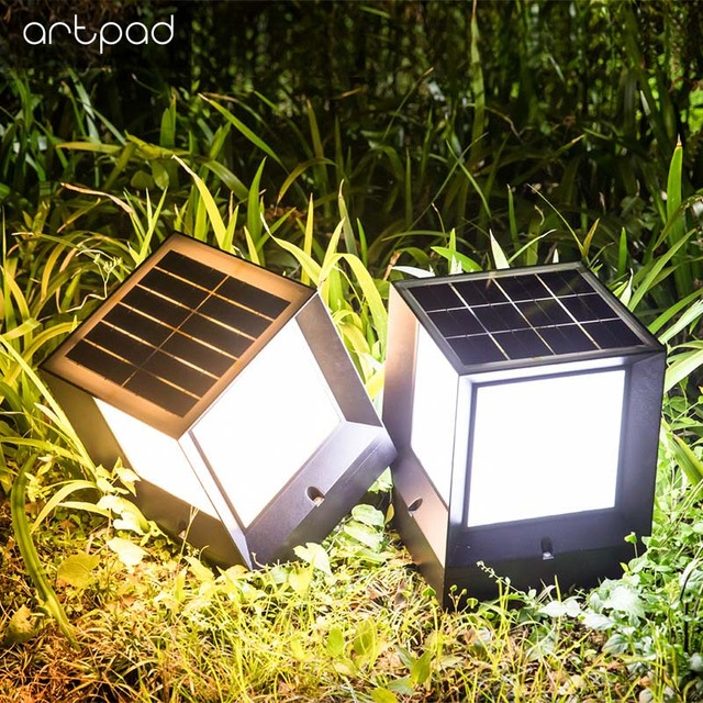 Artpad Modern Dimming Waterproof Solar LED with Light Control Courtyard Security Path Garden Lawn Solar Wall Lamp Night Lighting