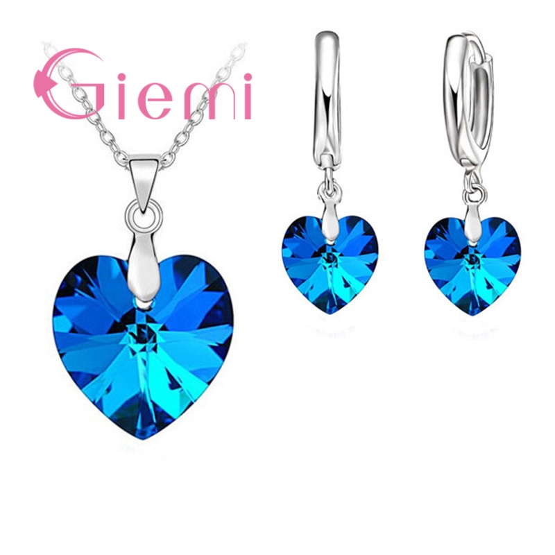 Hot Sell Exquisite Heart 925 Sterling Silver Earrings Necklaces Sets for Girls Ladies Austrian Crystal Wedding Accessories 1