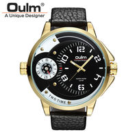 Famous Brand 2 Time Zone Double Japanese Movement Classic Black Strap Military Oulm Men Watches Luxury