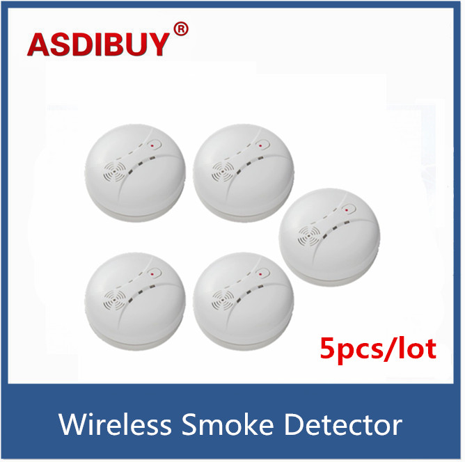 5pcs/lot 315/433MHz high quality Wireless Smoke Detector Fire Alarm Sensor Alarm For Security Home shop alarm system